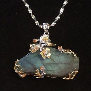 SPECTACULAR Labradorite & Emerald Pendant